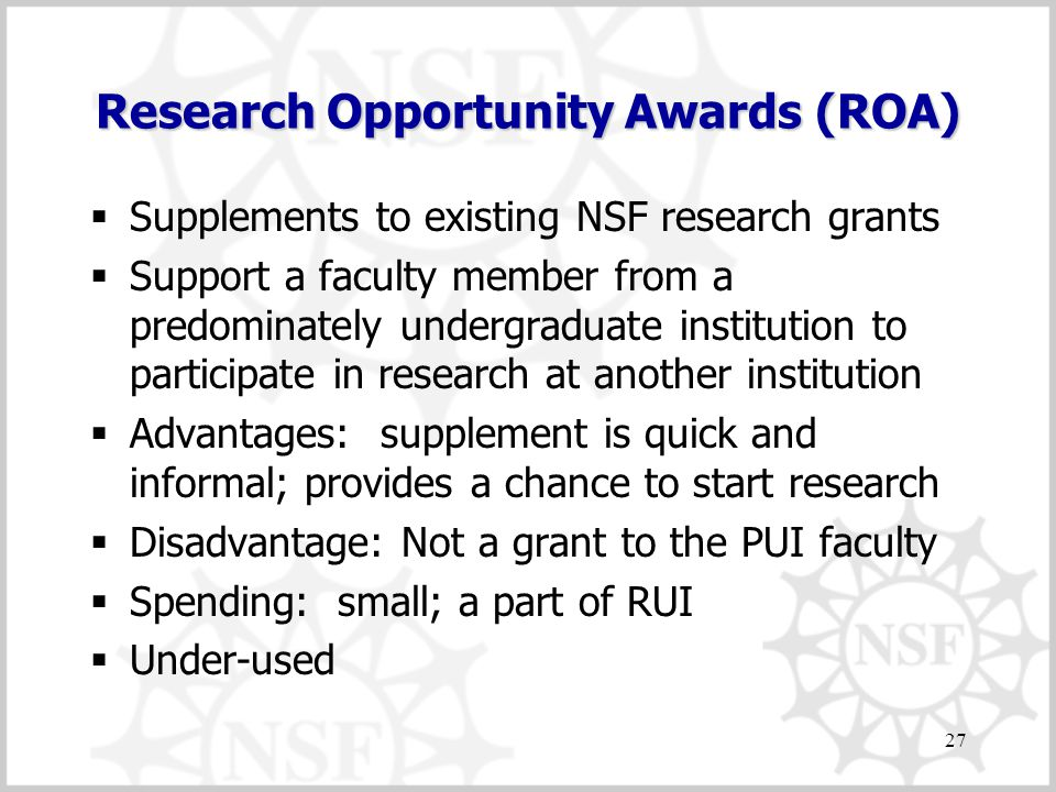 Research Opportunity Awards (ROA)  Supplements to existing NSF research grants  Support a faculty member from a predominately undergraduate institution to participate in research at another institution  Advantages: supplement is quick and informal; provides a chance to start research  Disadvantage: Not a grant to the PUI faculty  Spending: small; a part of RUI  Under-used 27