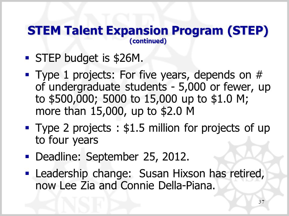 STEM Talent Expansion Program (STEP) (continued)  STEP budget is $26M.