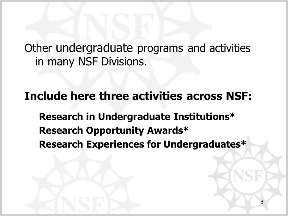 Other undergraduate programs and activities in many NSF Divisions.