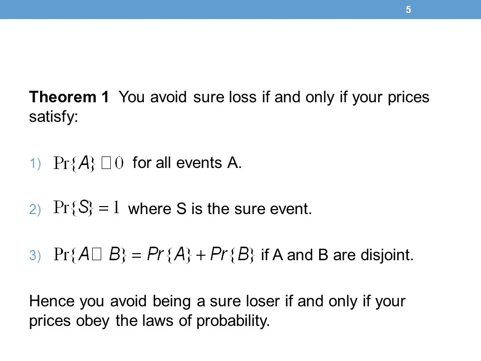 Theorem 1 You avoid sure loss if and only if your prices satisfy: 1) for all events A.