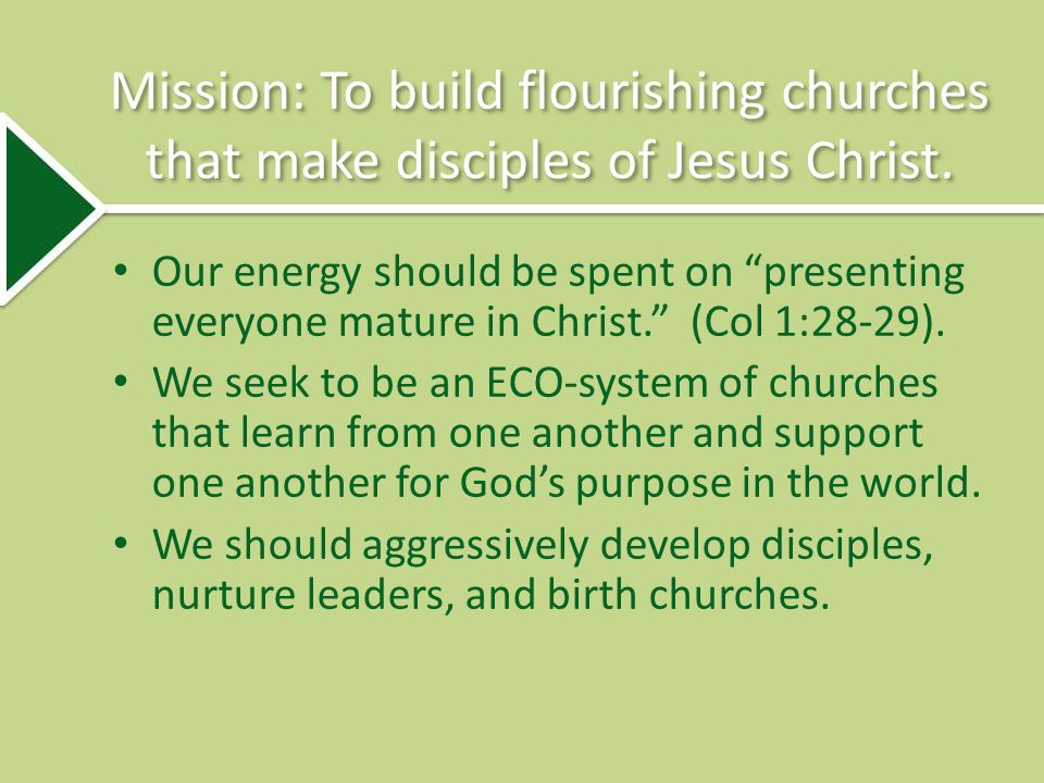 Mission: To build flourishing churches that make disciples of Jesus Christ.