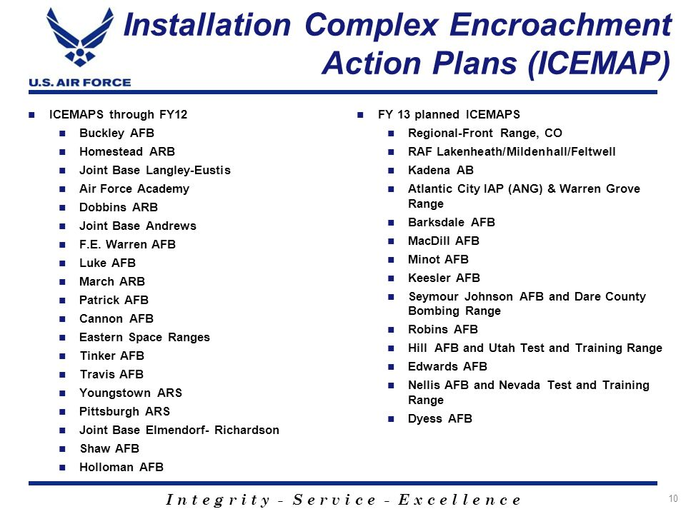 I n t e g r i t y - S e r v i c e - E x c e l l e n c e Installation Complex Encroachment Action Plans (ICEMAP) ICEMAPS through FY12 Buckley AFB Homestead ARB Joint Base Langley-Eustis Air Force Academy Dobbins ARB Joint Base Andrews F.E.