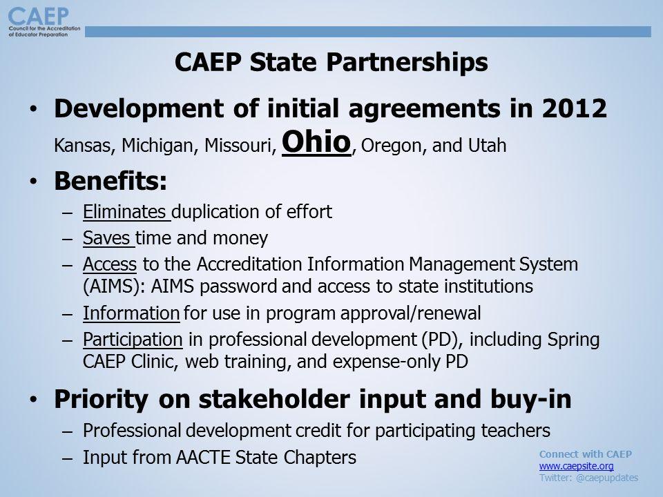 Connect with CAEP www.caepsite.org Twitter: @caepupdates CAEP State Partnerships Development of initial agreements in 2012 Kansas, Michigan, Missouri,