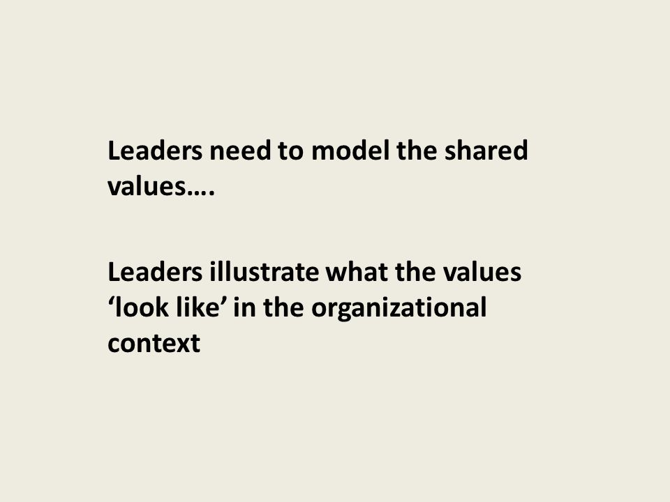 Leaders need to model the shared values…. Leaders illustrate what the values 'look like' in the organizational context