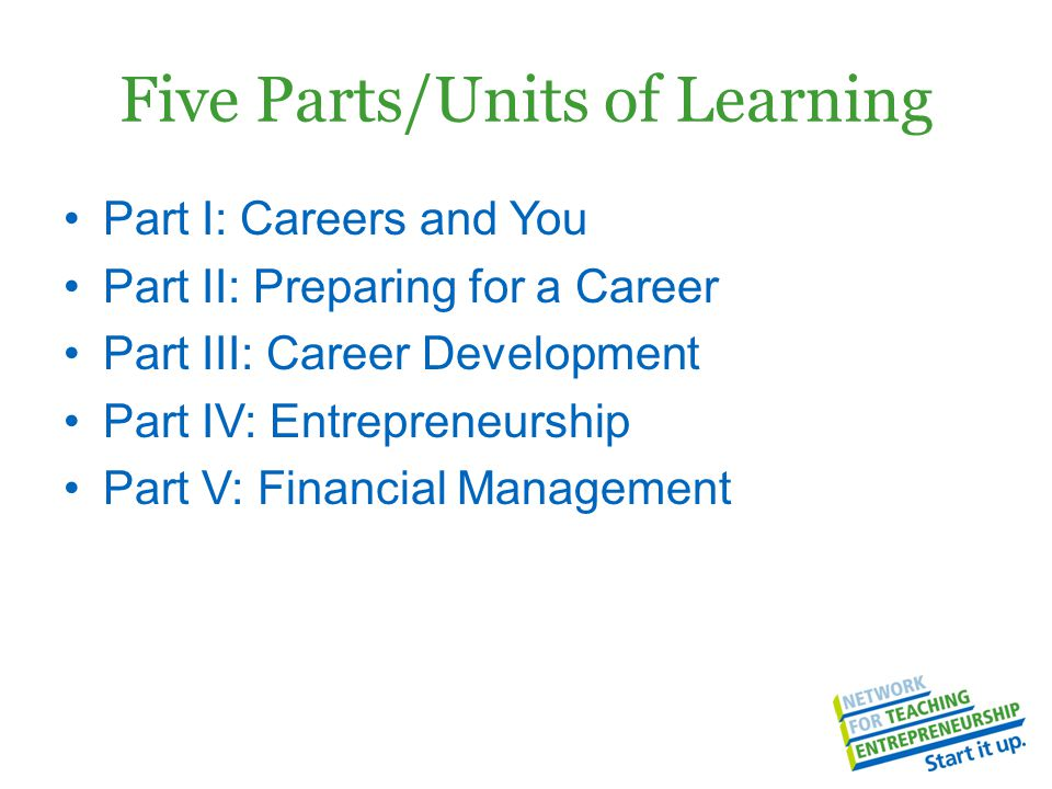 Five Parts/Units of Learning Part I: Careers and You Part II: Preparing for a Career Part III: Career Development Part IV: Entrepreneurship Part V: Financial Management