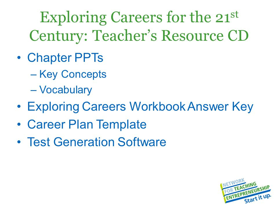 Exploring Careers for the 21 st Century: Teacher's Resource CD Chapter PPTs –Key Concepts –Vocabulary Exploring Careers Workbook Answer Key Career Pla