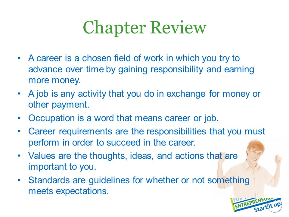 Chapter Review A career is a chosen field of work in which you try to advance over time by gaining responsibility and earning more money.