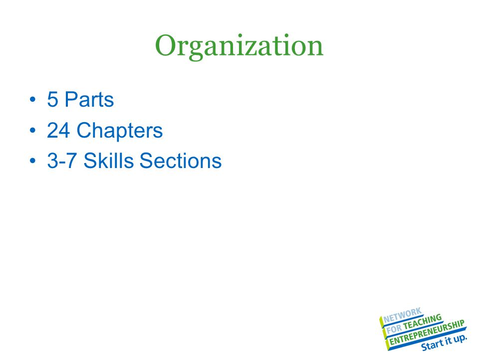 Organization 5 Parts 24 Chapters 3-7 Skills Sections