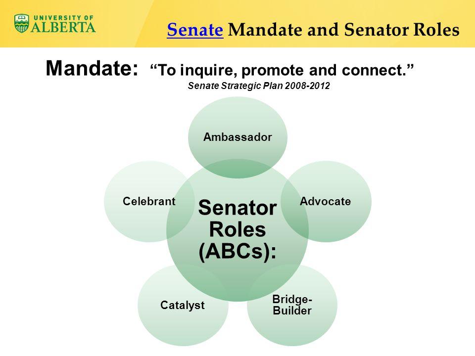 "Mandate: ""To inquire, promote and connect."" Senate Strategic Plan 2008-2012 SenateSenate Mandate and Senator Roles Senator Roles (ABCs): AmbassadorAdv"