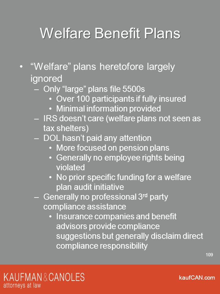 kaufCAN.com 109 Welfare Benefit Plans Welfare plans heretofore largely ignored –Only large plans file 5500s Over 100 participants if fully insured Minimal information provided –IRS doesn't care (welfare plans not seen as tax shelters) –DOL hasn't paid any attention More focused on pension plans Generally no employee rights being violated No prior specific funding for a welfare plan audit initiative –Generally no professional 3 rd party compliance assistance Insurance companies and benefit advisors provide compliance suggestions but generally disclaim direct compliance responsibility