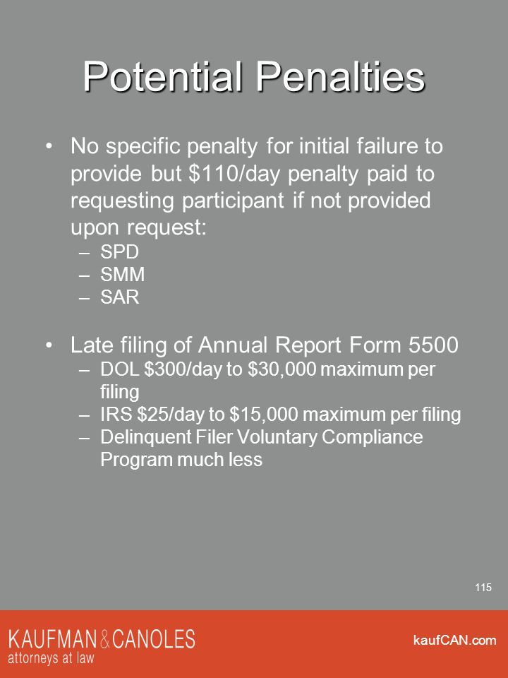 kaufCAN.com 115 Potential Penalties No specific penalty for initial failure to provide but $110/day penalty paid to requesting participant if not provided upon request: –SPD –SMM –SAR Late filing of Annual Report Form 5500 –DOL $300/day to $30,000 maximum per filing –IRS $25/day to $15,000 maximum per filing –Delinquent Filer Voluntary Compliance Program much less
