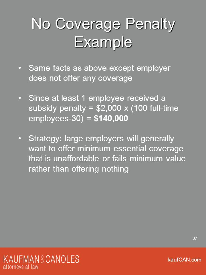 kaufCAN.com 37 No Coverage Penalty Example Same facts as above except employer does not offer any coverage Since at least 1 employee received a subsidy penalty = $2,000 x (100 full-time employees-30) = $140,000 Strategy: large employers will generally want to offer minimum essential coverage that is unaffordable or fails minimum value rather than offering nothing