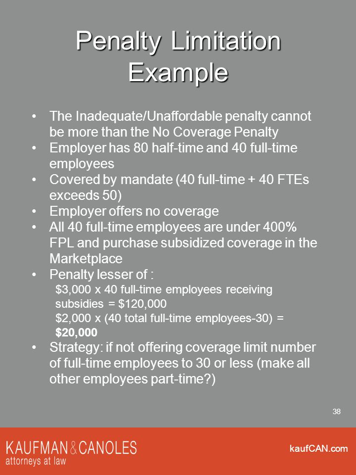 kaufCAN.com 38 Penalty Limitation Example The Inadequate/Unaffordable penalty cannot be more than the No Coverage Penalty Employer has 80 half-time and 40 full-time employees Covered by mandate (40 full-time + 40 FTEs exceeds 50) Employer offers no coverage All 40 full-time employees are under 400% FPL and purchase subsidized coverage in the Marketplace Penalty lesser of : $3,000 x 40 full-time employees receiving subsidies = $120,000 $2,000 x (40 total full-time employees-30) = $20,000 Strategy: if not offering coverage limit number of full-time employees to 30 or less (make all other employees part-time )
