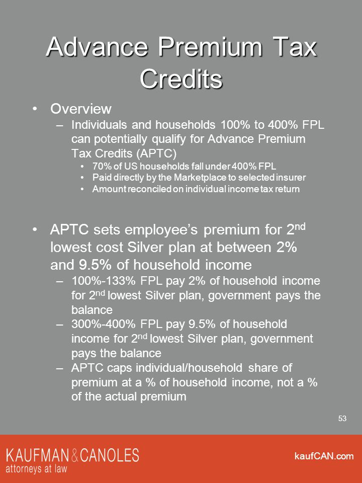 kaufCAN.com 53 Advance Premium Tax Credits Overview –Individuals and households 100% to 400% FPL can potentially qualify for Advance Premium Tax Credi