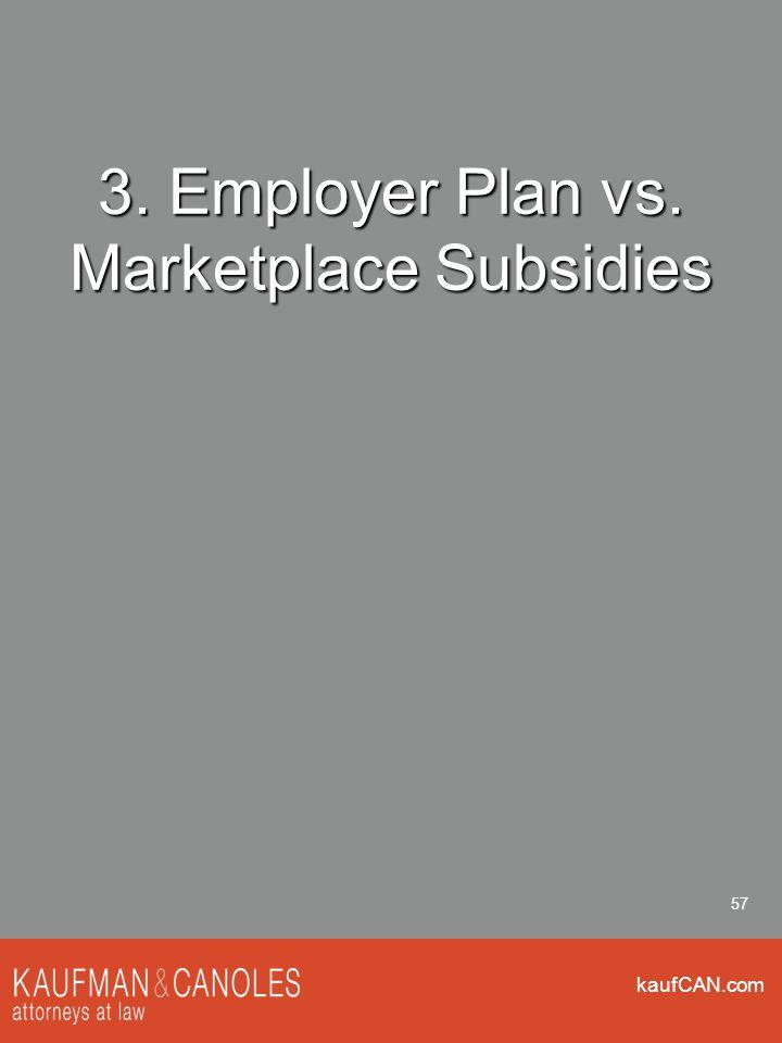 kaufCAN.com 57 3. Employer Plan vs. Marketplace Subsidies