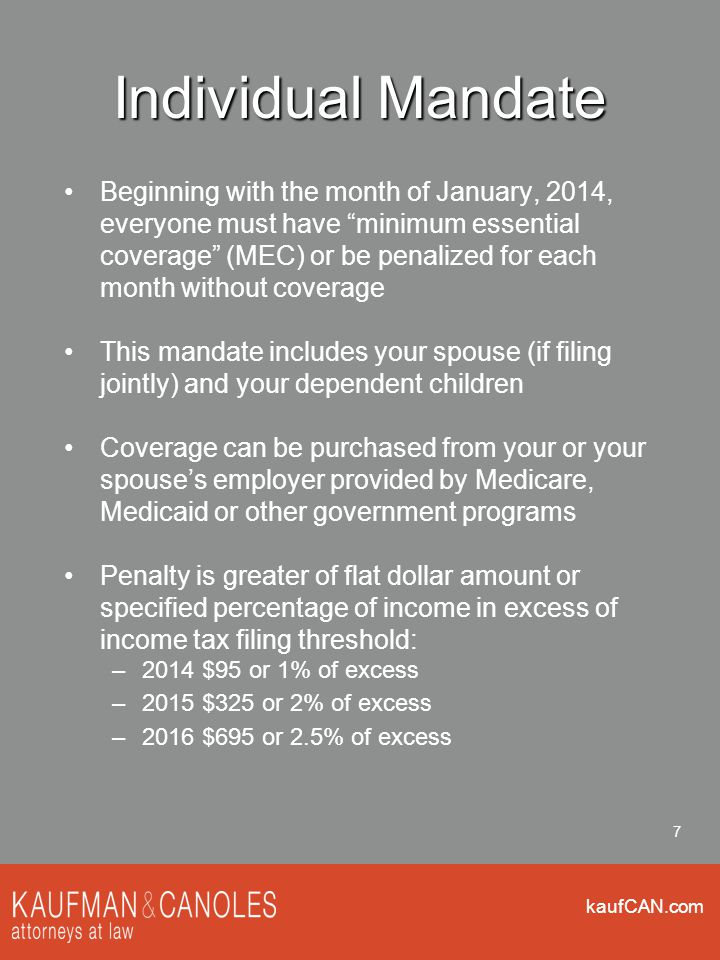 kaufCAN.com 38 Penalty Limitation Example The Inadequate/Unaffordable penalty cannot be more than the No Coverage Penalty Employer has 80 half-time and 40 full-time employees Covered by mandate (40 full-time + 40 FTEs exceeds 50) Employer offers no coverage All 40 full-time employees are under 400% FPL and purchase subsidized coverage in the Marketplace Penalty lesser of : $3,000 x 40 full-time employees receiving subsidies = $120,000 $2,000 x (40 total full-time employees-30) = $20,000 Strategy: if not offering coverage limit number of full-time employees to 30 or less (make all other employees part-time?)