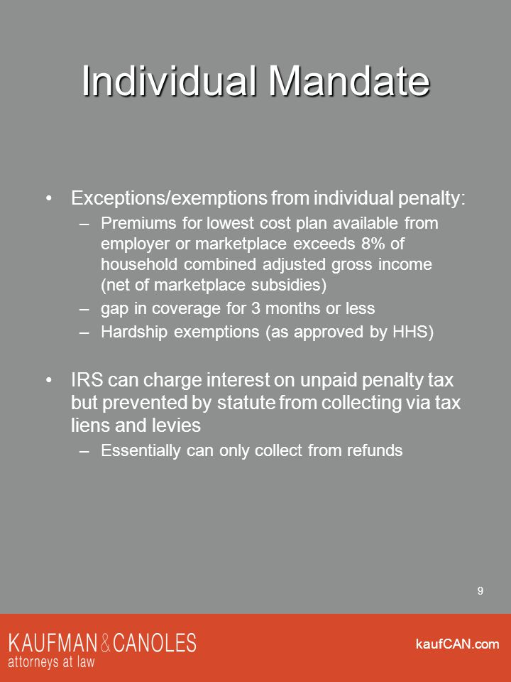 kaufCAN.com 30 Affordability Statute: coverage is affordable if the employee's premium for self-only coverage is no more than 9.5% of the employee's household income IRS temporarily allowing use of employee's W-2 Box 1 (gross wages subject to income tax) as = household income Box 1 is AFTER pre-tax 401(k) and cafeteria plan deductions Affordability is measured on cost of employee-only coverage under the lowest cost 60% minimum value (Bronze) plan offered by the employer Premium can't reflect wellness incentives except tobacco cessation