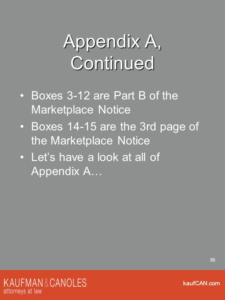 kaufCAN.com 95 Appendix A, Continued Boxes 3-12 are Part B of the Marketplace Notice Boxes 14-15 are the 3rd page of the Marketplace Notice Let's have a look at all of Appendix A…