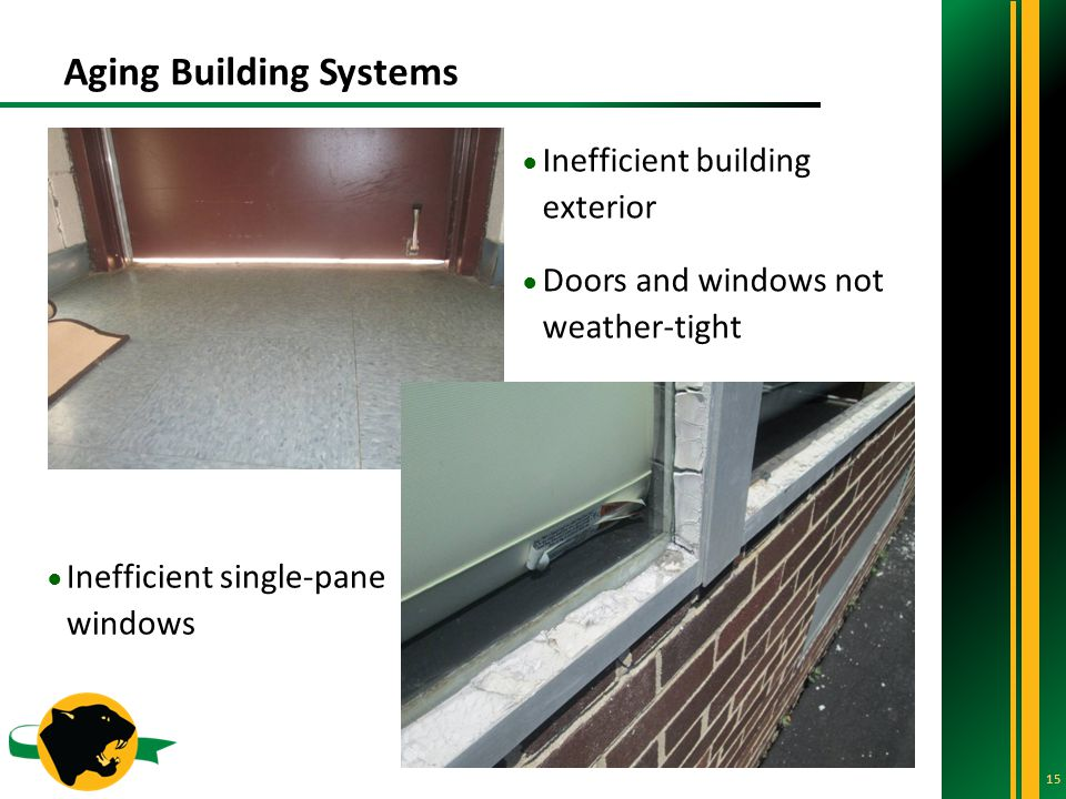 Aging Building Systems 15 ● Inefficient single-pane windows ● Inefficient building exterior ● Doors and windows not weather-tight