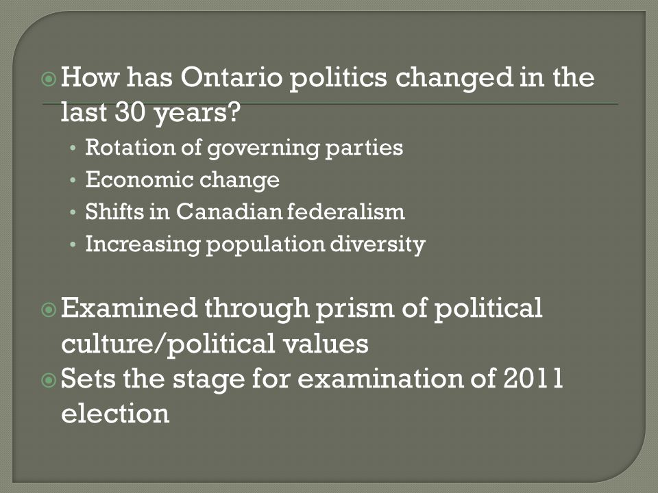  How has Ontario politics changed in the last 30 years.