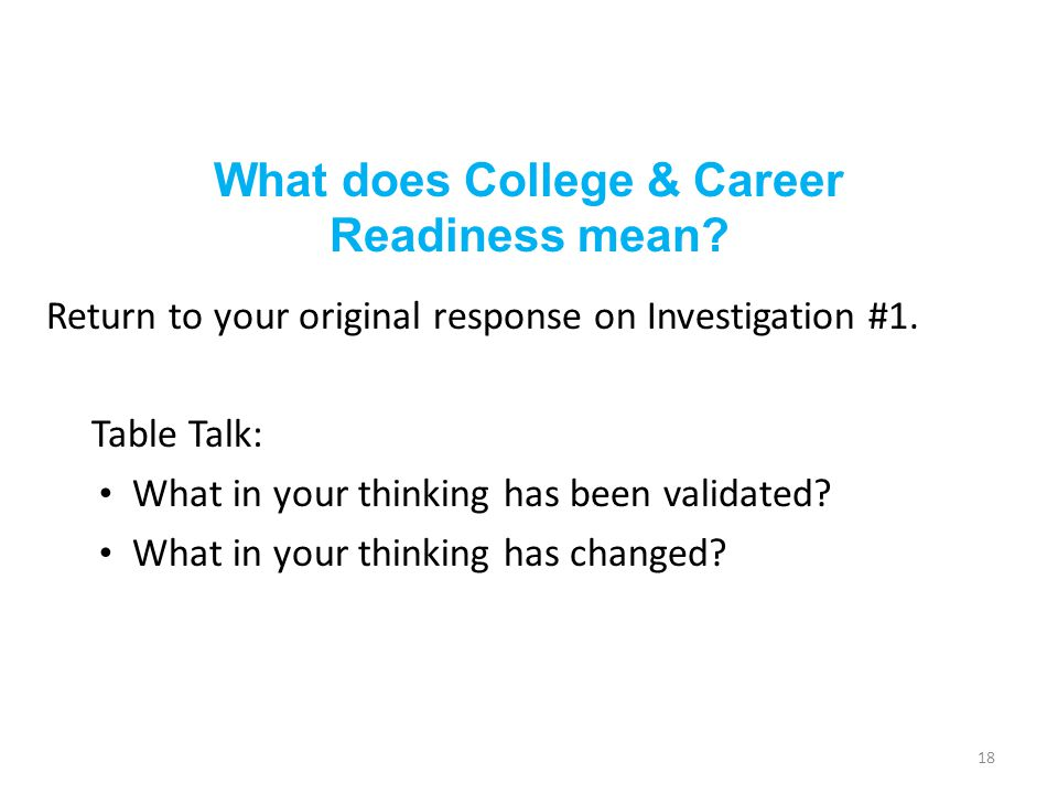What does College & Career Readiness mean? Return to your original response on Investigation #1. Table Talk: What in your thinking has been validated?