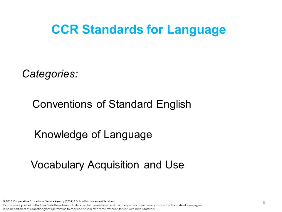 CCR Standards for Language Categories: Conventions of Standard English Knowledge of Language Vocabulary Acquisition and Use 9 ©2011 Cooperative Educat