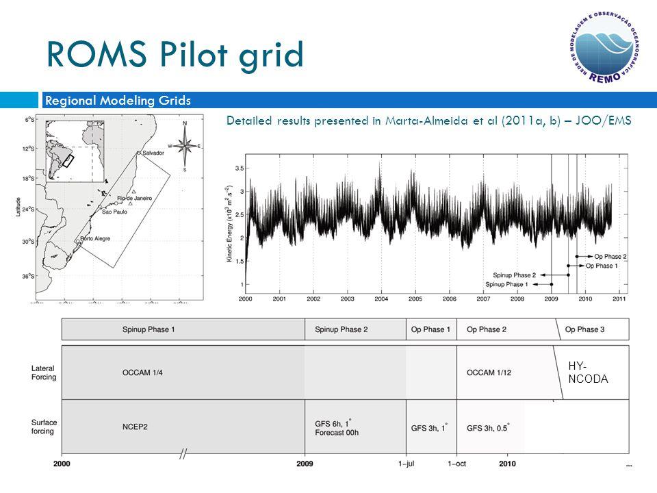 ROMS Pilot grid Detailed results presented in Marta-Almeida et al (2011a, b) – JOO/EMS Regional Modeling Grids HYCOM/ NCODA 1/12 HY- NCODA