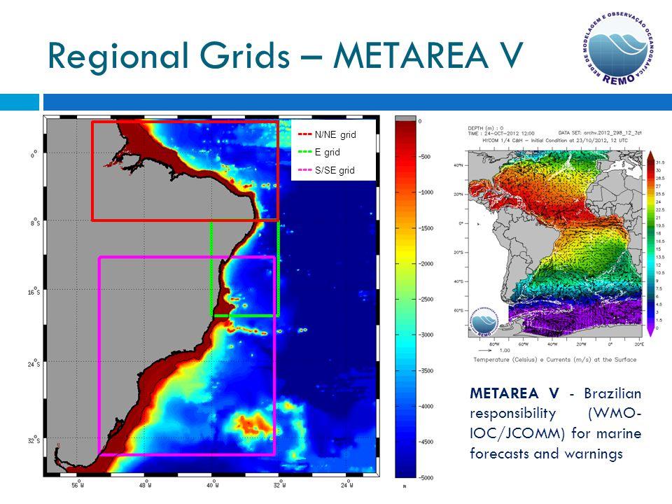 Regional Grids – METAREA V --- N/NE grid --- E grid --- S/SE grid METAREA V - Brazilian responsibility (WMO- IOC/JCOMM) for marine forecasts and warni
