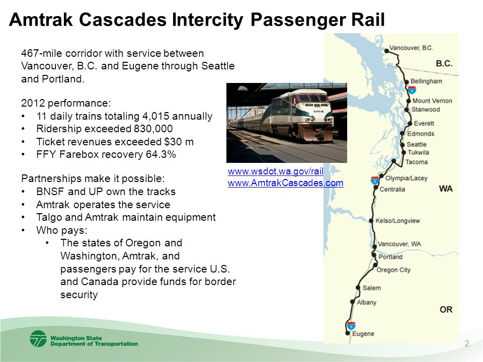 Amtrak Cascades Intercity Passenger Rail 467-mile corridor with service between Vancouver, B.C. and Eugene through Seattle and Portland. 2012 performa