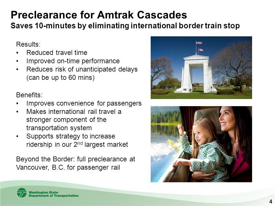 Preclearance for Amtrak Cascades Saves 10-minutes by eliminating international border train stop Results: Reduced travel time Improved on-time perform