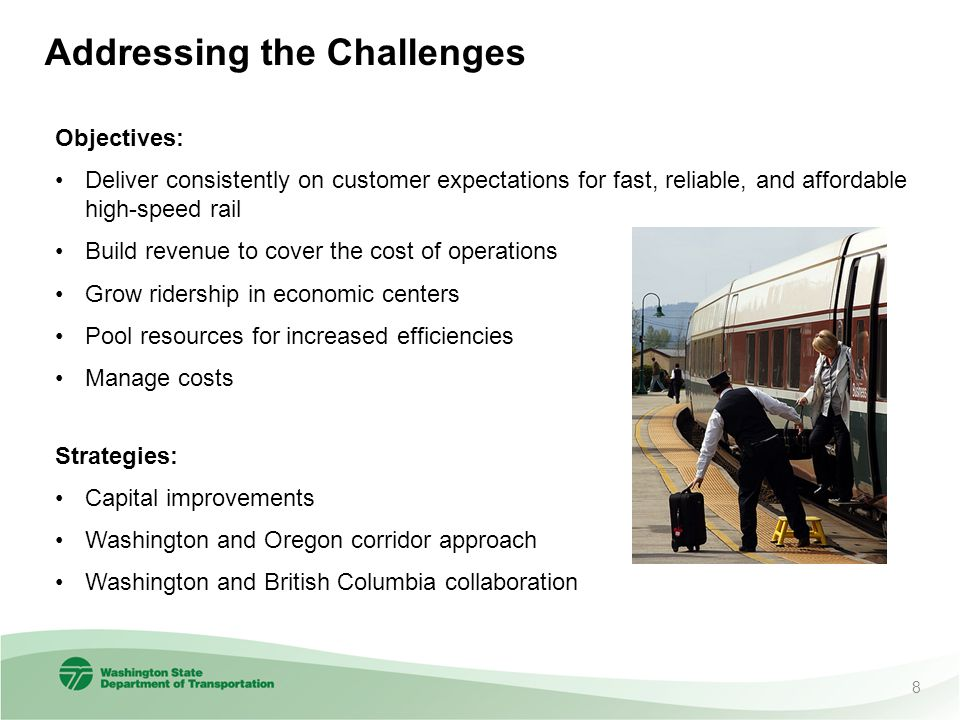 Addressing the Challenges Objectives: Deliver consistently on customer expectations for fast, reliable, and affordable high-speed rail Build revenue t