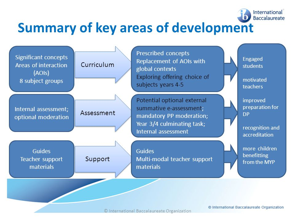 Curriculum Assessment Support Summary of key areas of development © International Baccalaureate Organization Significant concepts Areas of interaction
