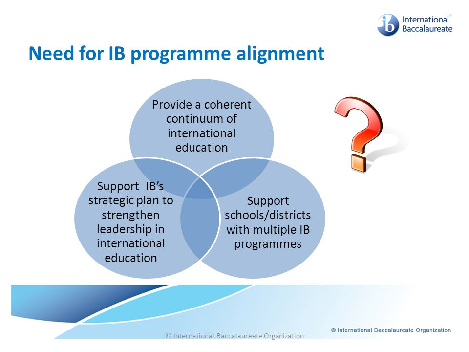 © International Baccalaureate Organization Need for IB programme alignment Provide a coherent continuum of international education Support schools/dis