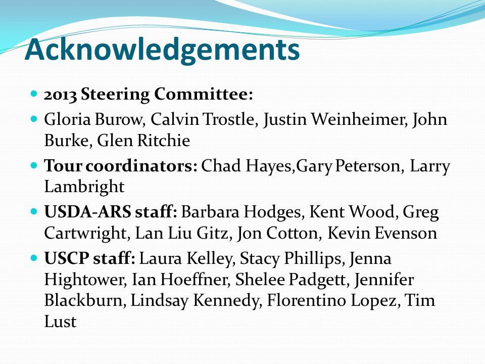 Acknowledgements 2013 Steering Committee: Gloria Burow, Calvin Trostle, Justin Weinheimer, John Burke, Glen Ritchie Tour coordinators: Chad Hayes,Gary