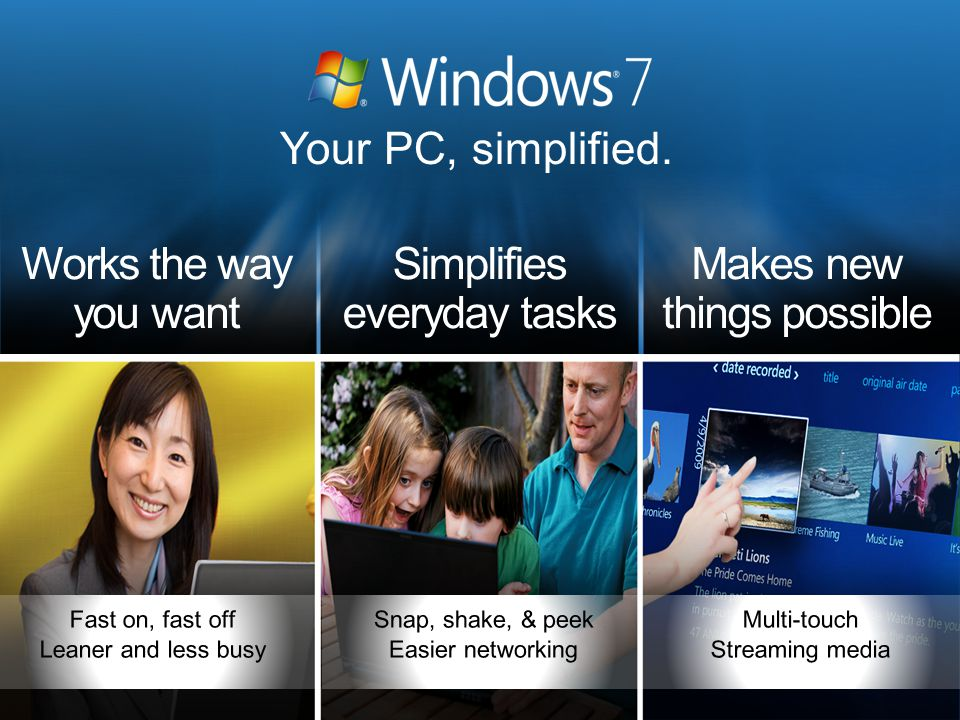 Customer Perception & Behavior Approach Tell the Windows & PC Story Land benefits of Windows 7 Create desire for Windows 7 PCs Focus on features (launch +120), then scenarios Communicate ecosystem value