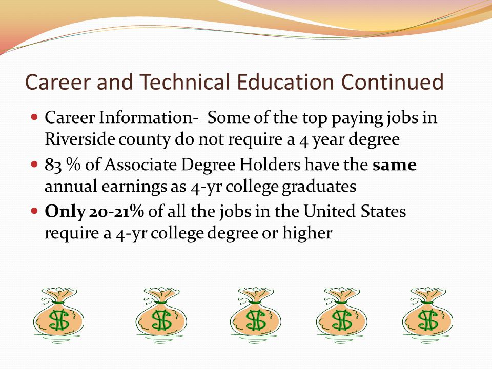 Career and Technical Education Continued Career Information- Some of the top paying jobs in Riverside county do not require a 4 year degree 83 % of Associate Degree Holders have the same annual earnings as 4-yr college graduates Only 20-21% of all the jobs in the United States require a 4-yr college degree or higher