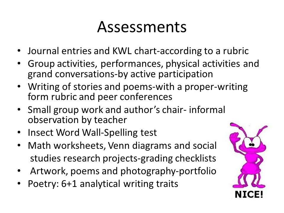 Assessments Journal entries and KWL chart-according to a rubric Group activities, performances, physical activities and grand conversations-by active participation Writing of stories and poems-with a proper-writing form rubric and peer conferences Small group work and author's chair- informal observation by teacher Insect Word Wall-Spelling test Math worksheets, Venn diagrams and social studies research projects-grading checklists Artwork, poems and photography-portfolio Poetry: 6+1 analytical writing traits