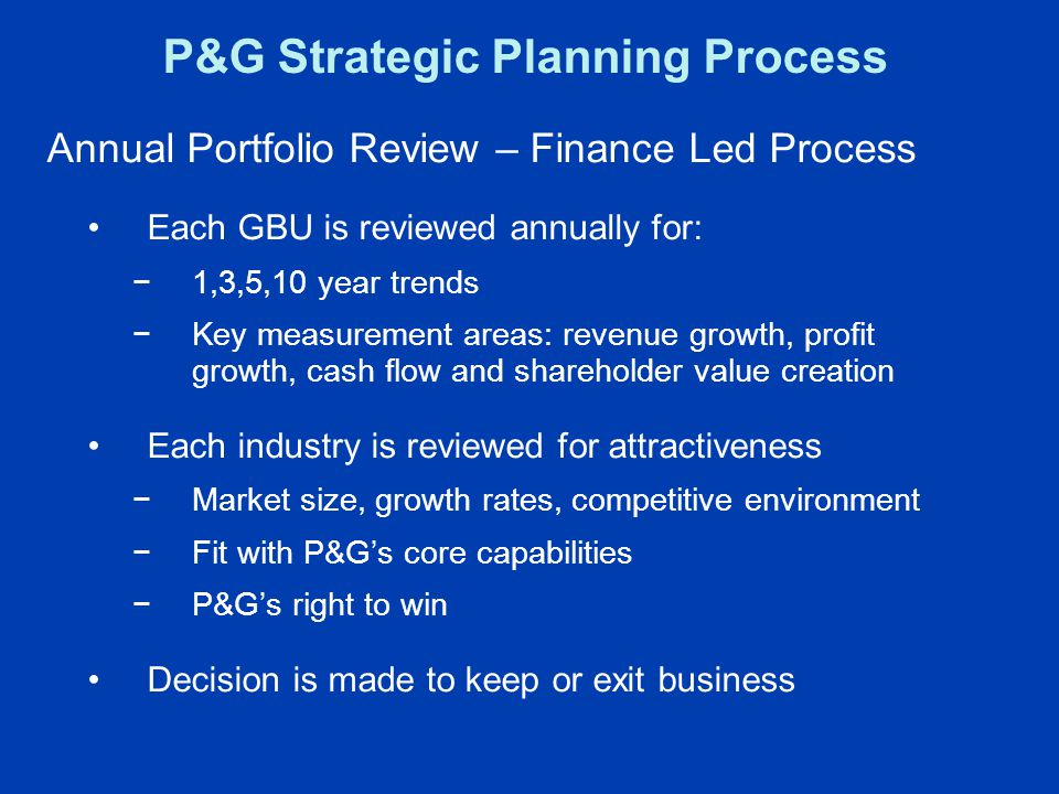 P&G Strategic Planning Process Annual Portfolio Review – Finance Led Process Each GBU is reviewed annually for: −1,3,5,10 year trends −Key measurement areas: revenue growth, profit growth, cash flow and shareholder value creation Each industry is reviewed for attractiveness −Market size, growth rates, competitive environment −Fit with P&G's core capabilities −P&G's right to win Decision is made to keep or exit business