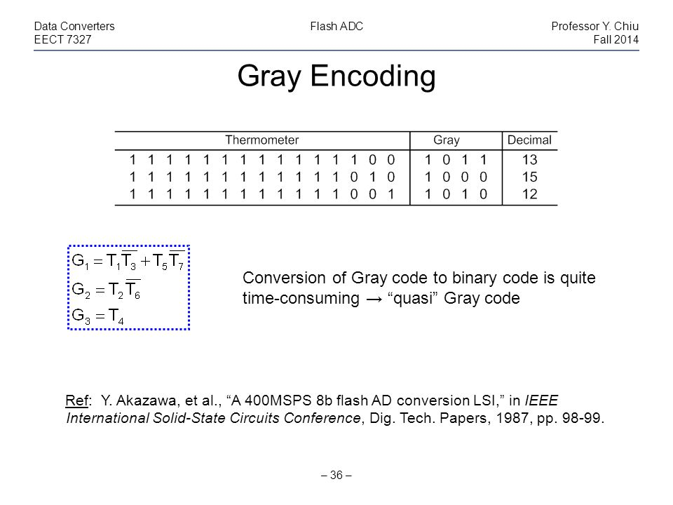 Gray Encoding – 36 – Data ConvertersFlash ADCProfessor Y.