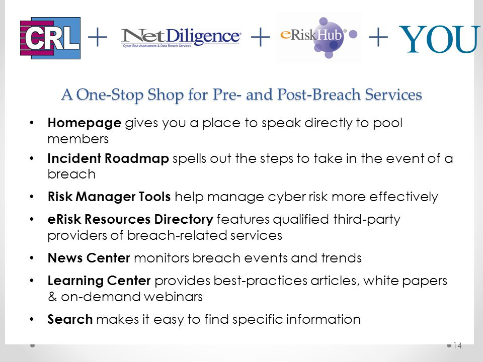 YOU +++ A One-Stop Shop for Pre- and Post-Breach Services Homepage gives you a place to speak directly to pool members Incident Roadmap spells out the