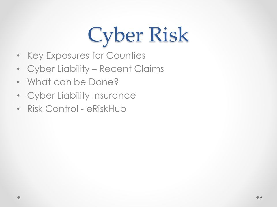 Key Cyber Exposures for Counties  Many organizations will collect/ store/share VAST private data .