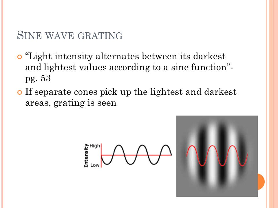 "S INE WAVE GRATING ""Light intensity alternates between its darkest and lightest values according to a sine function""- pg. 53 If separate cones pick up"