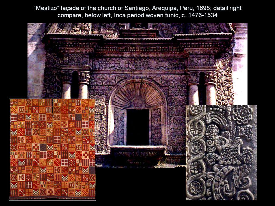 Mestizo façade of the church of Santiago, Arequipa, Peru, 1698; detail right compare, below left, Inca period woven tunic, c.
