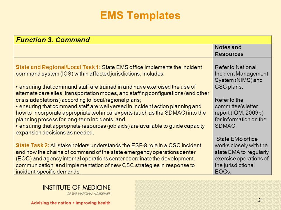 21 Function 3. Command Notes and Resources State and Regional/Local Task 1: State EMS office implements the incident command system (ICS) within affec