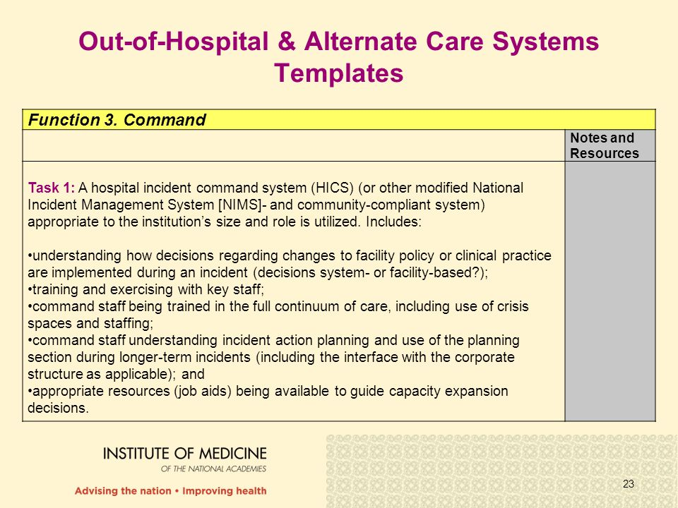 23 Function 3. Command Notes and Resources Task 1: A hospital incident command system (HICS) (or other modified National Incident Management System [N