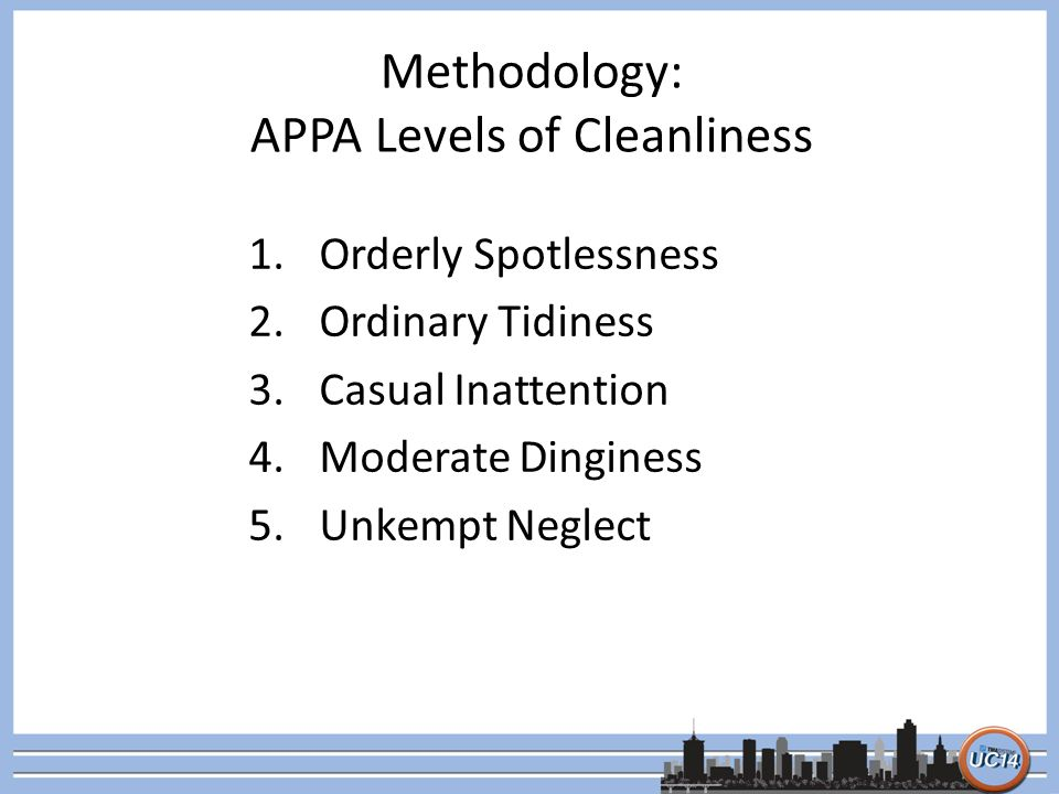 Methodology: APPA Levels of Cleanliness 1.Orderly Spotlessness 2.Ordinary Tidiness 3.Casual Inattention 4.Moderate Dinginess 5.Unkempt Neglect