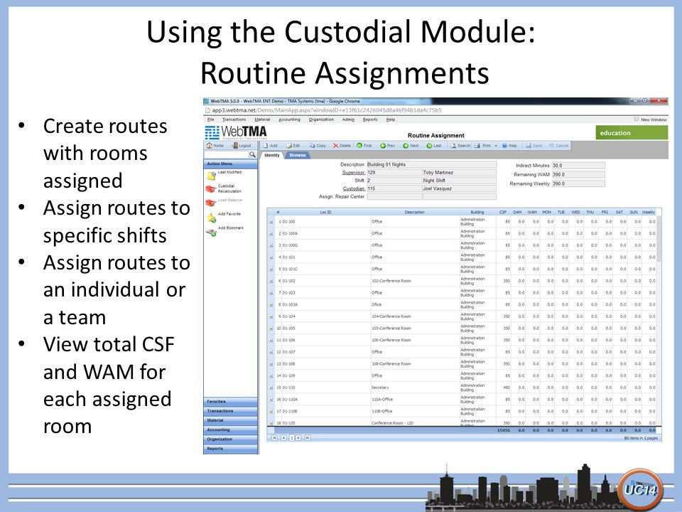 Using the Custodial Module: Routine Assignments Create routes with rooms assigned Assign routes to specific shifts Assign routes to an individual or a