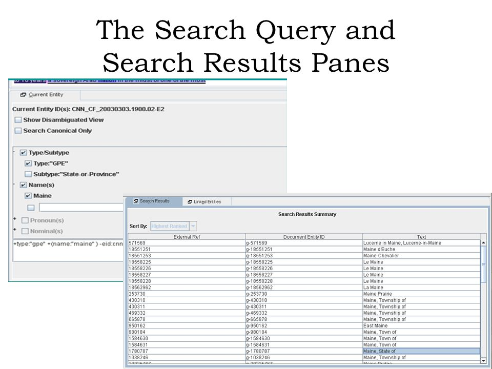The Search Query and Search Results Panes