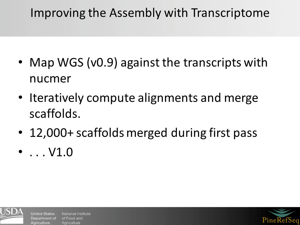 Improving the Assembly with Transcriptome Map WGS (v0.9) against the transcripts with nucmer Iteratively compute alignments and merge scaffolds. 12,00