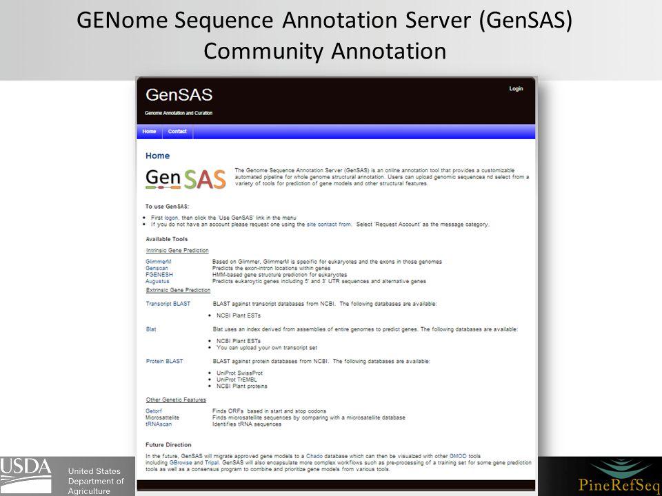 GENome Sequence Annotation Server (GenSAS) Community Annotation